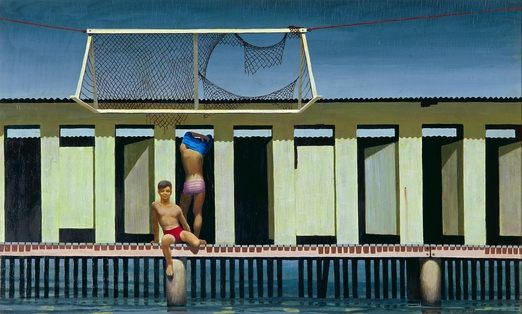 Jeffrey Smart, Rushcutters Bay Baths, 1961, oil on board, private collection