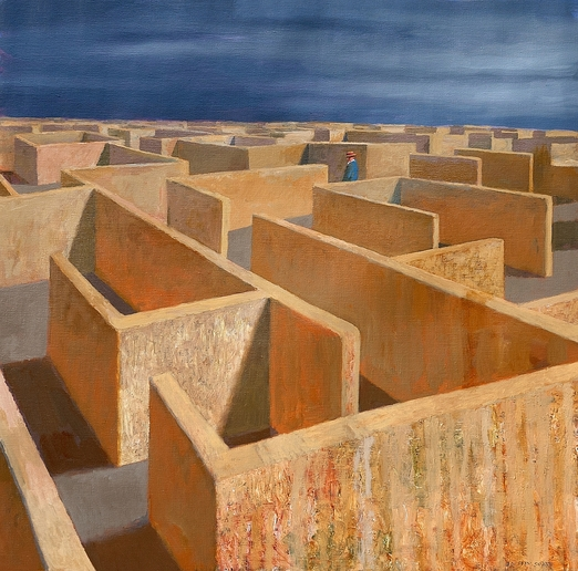 Jeffrey Smart, Labyrinth, 2011, oil on canvas, private collection