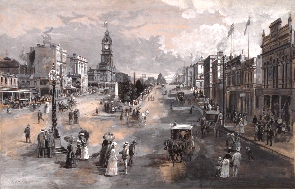Sturt Street, Ballarat, c. 1887, Gouache; 33.7 x 52.3 cm. Art Gallery of Ballarat; gift of 3BA and The Courier, Ballarat, 1978. Reproduced in Picturesque Atlas of Australasia, v. 2, opp. 251 (engraver unknown).