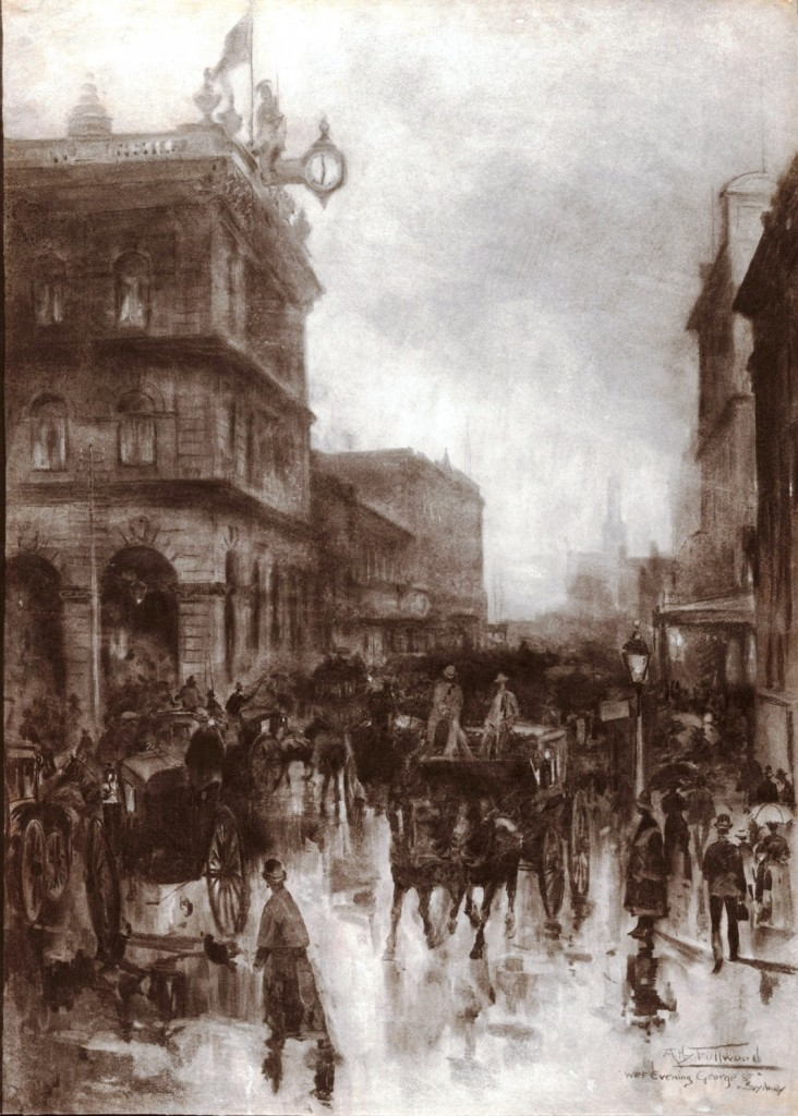 Wet Evening, George Street, Sydney, 1889. Charcoal: 100.5 x 71.7 cm. Art Gallery of New South Wales; purchased 1898.